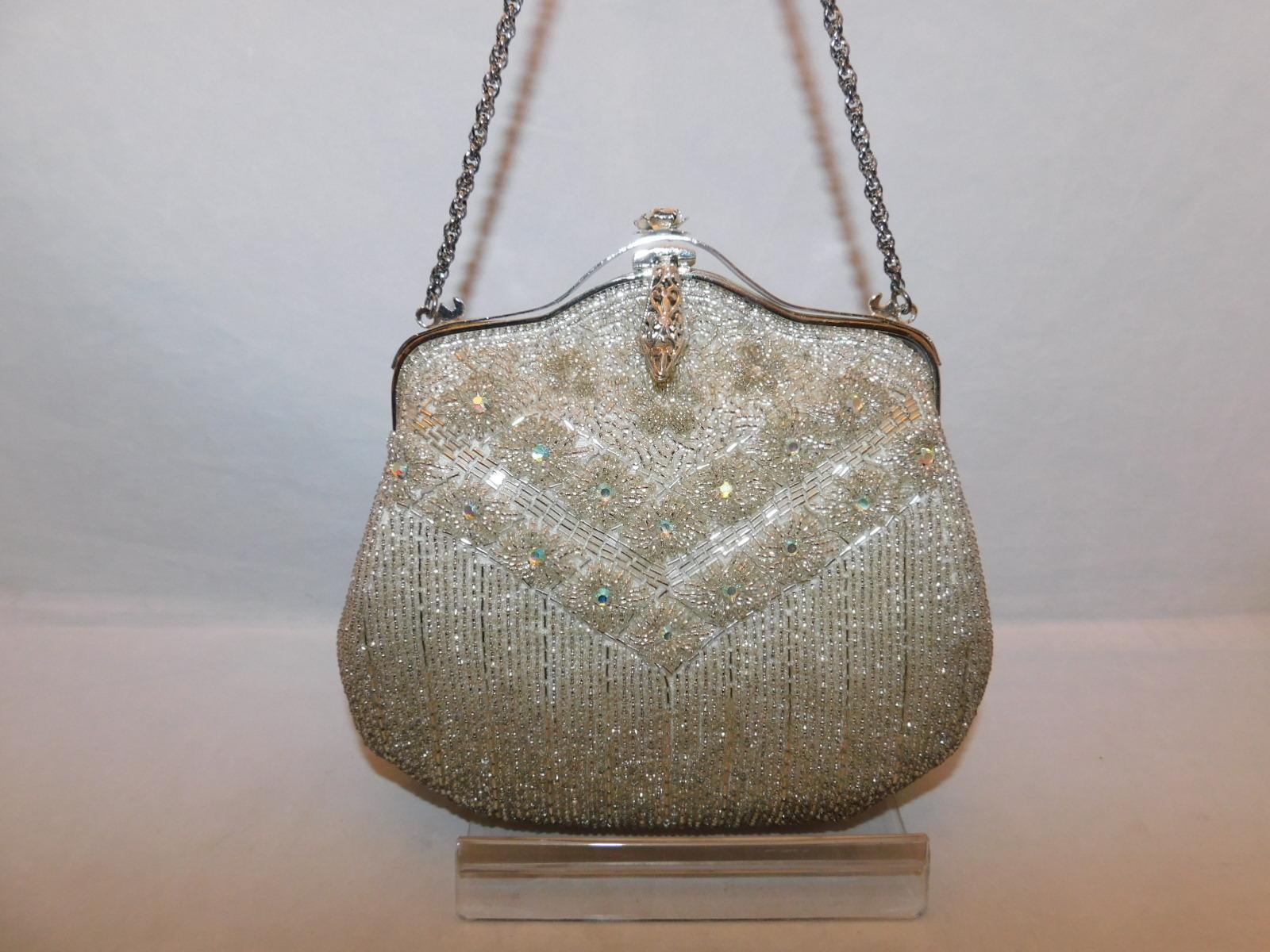 シルバービーズビィンテージバックsilver color bead vintage bag(made in Japan)(No66)