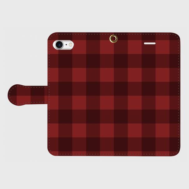 レトロ柄チェック(赤・黒)/ iPhoneスマホケース(手帳型ケース)