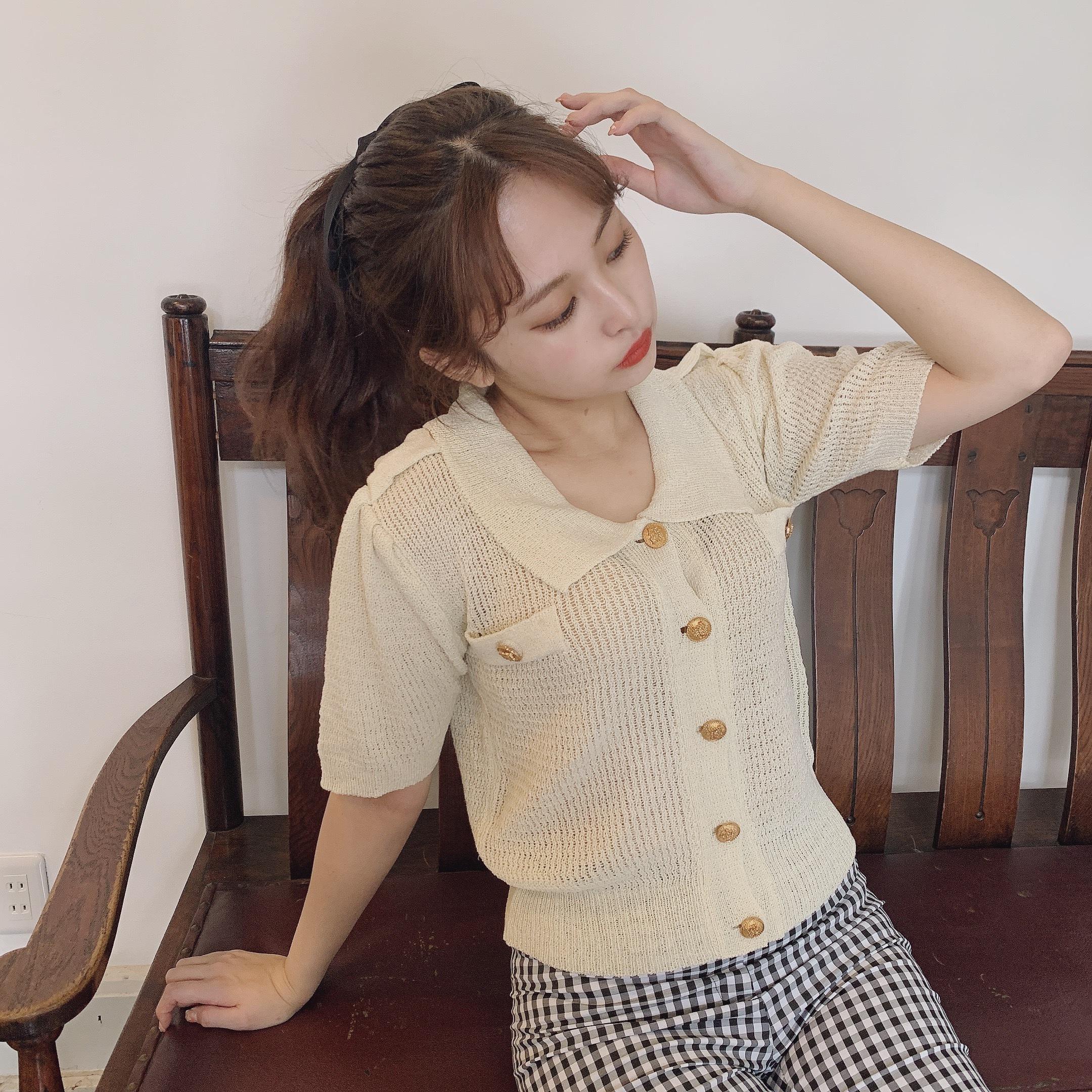 gold button light knit tops