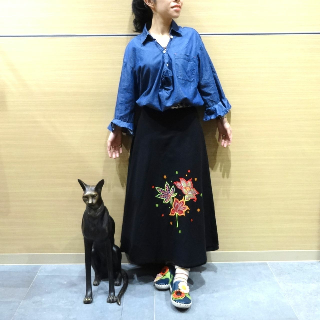 ebwb-006 刺繍コットン・サリー 巻きスカート