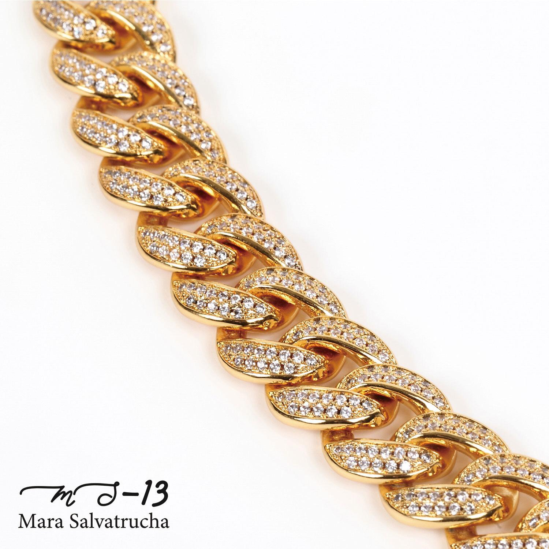 【MS-13】K18GP マイアミキューバン リンク ネックレス チェーン[長さ:45cm](ゴールド)