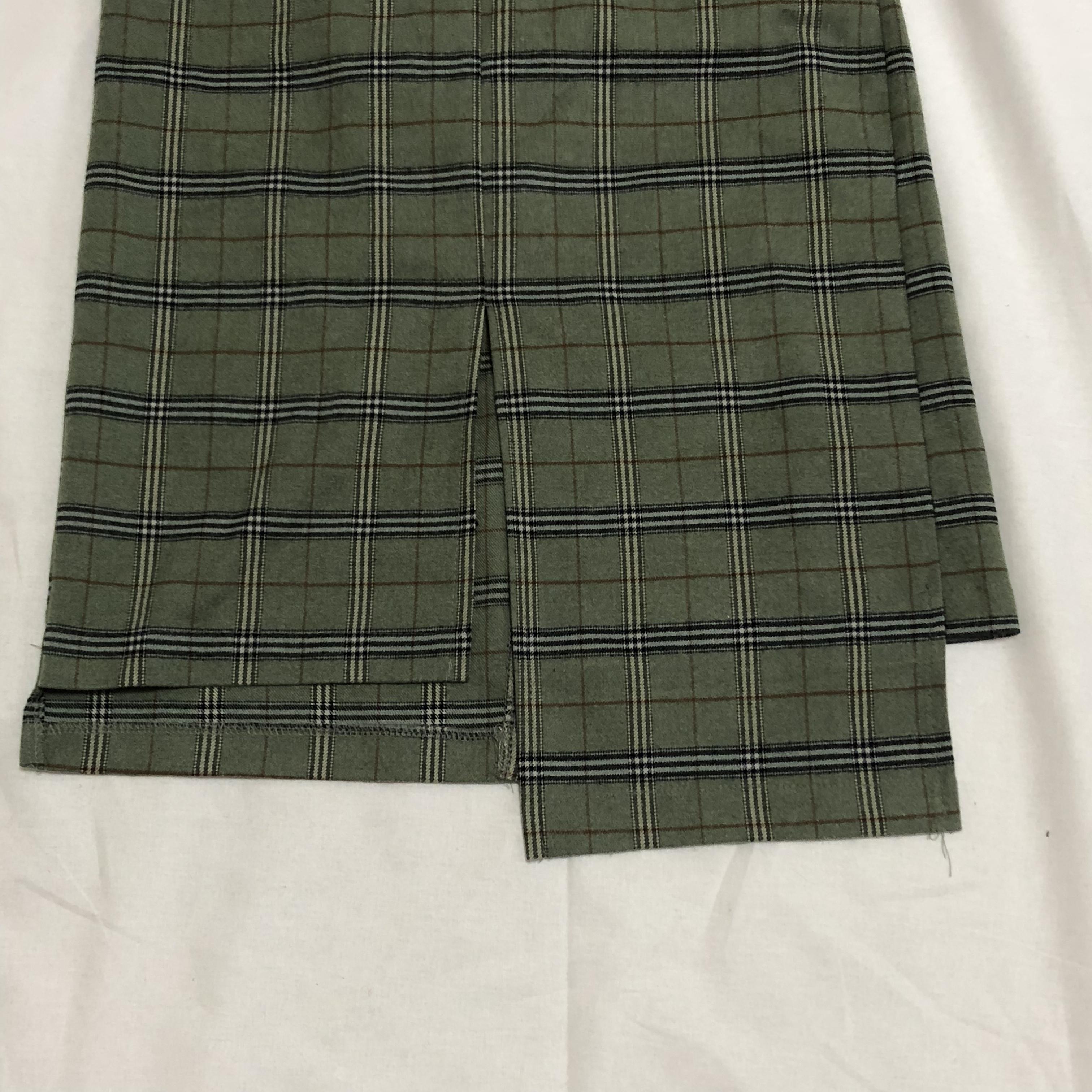 slit check long skirt(green)