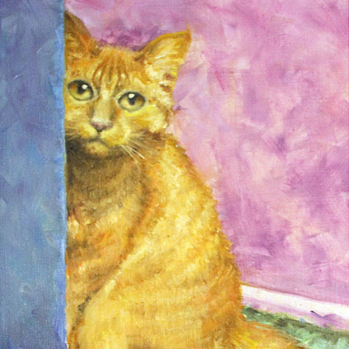 絵画 インテリア アートパネル 雑貨 壁掛け 置物 おしゃれ 油絵 水彩画 鉛筆画 猫 動物 ロココロ 画家 : Uliana ( ウリャーナ ) 作品 : u-18