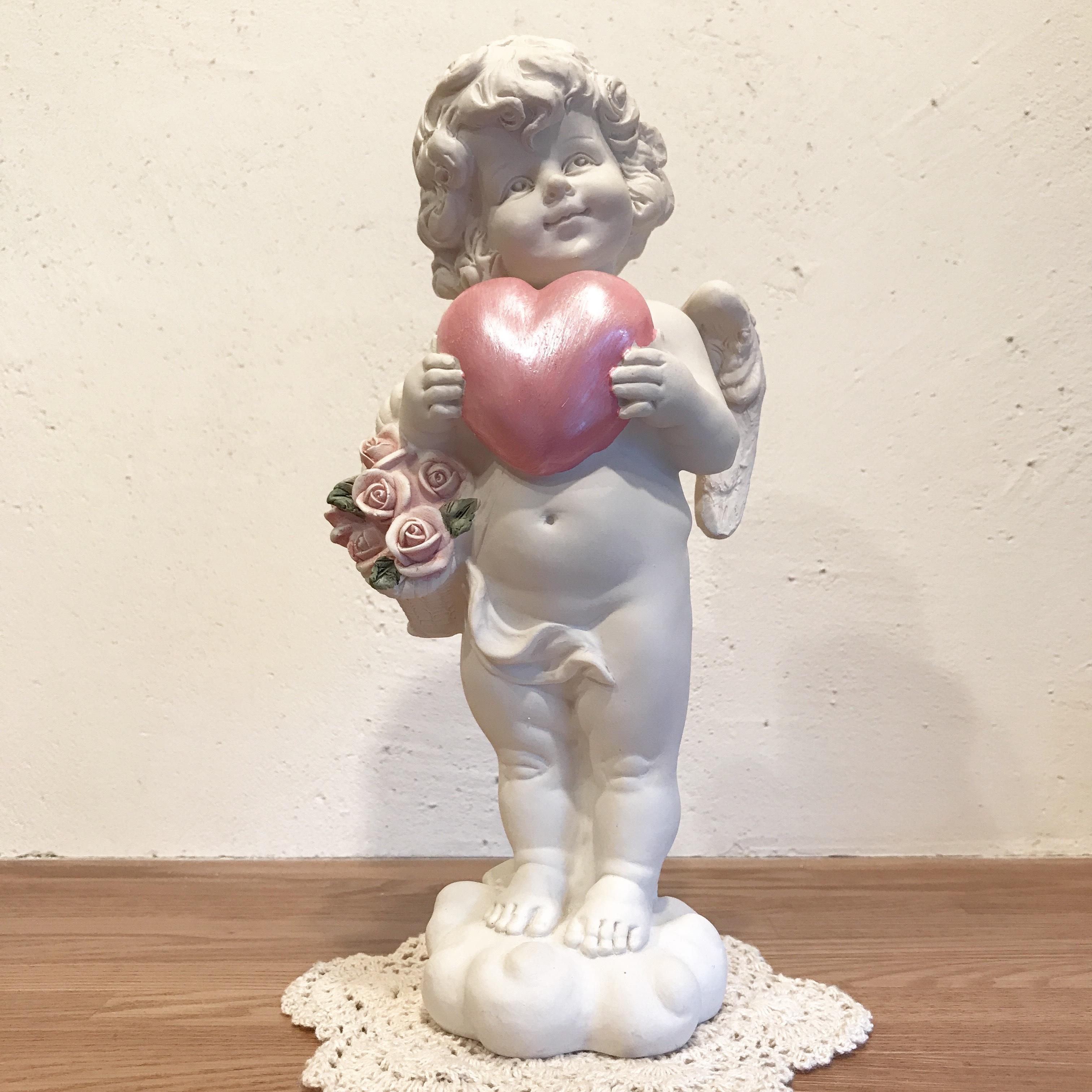 ハート&バラの花籠を持つ天使 [天使雑貨]