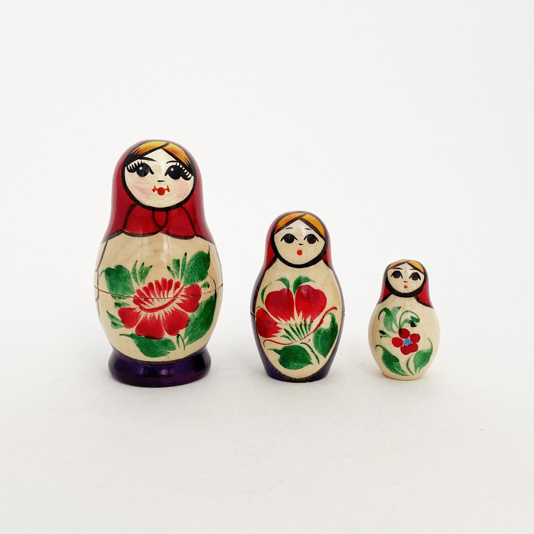 ノーリンスク産マトリョーシカ/花3個組