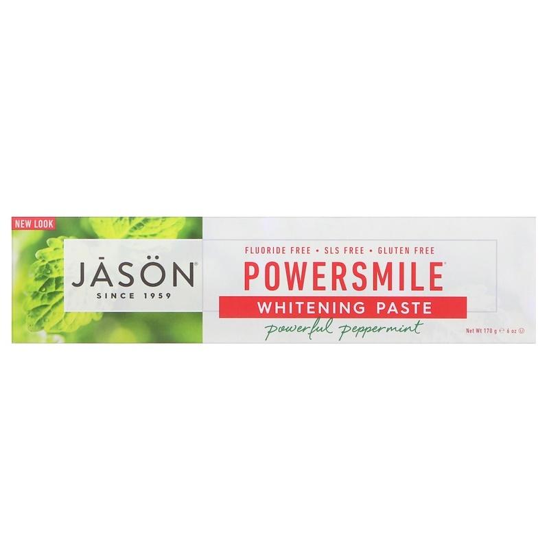 フッ素不使用☆100%植物成分合成保存料不使用歯磨き粉 パワースマイル(POWER SMILE)6オンス (170 g)Jason Natural