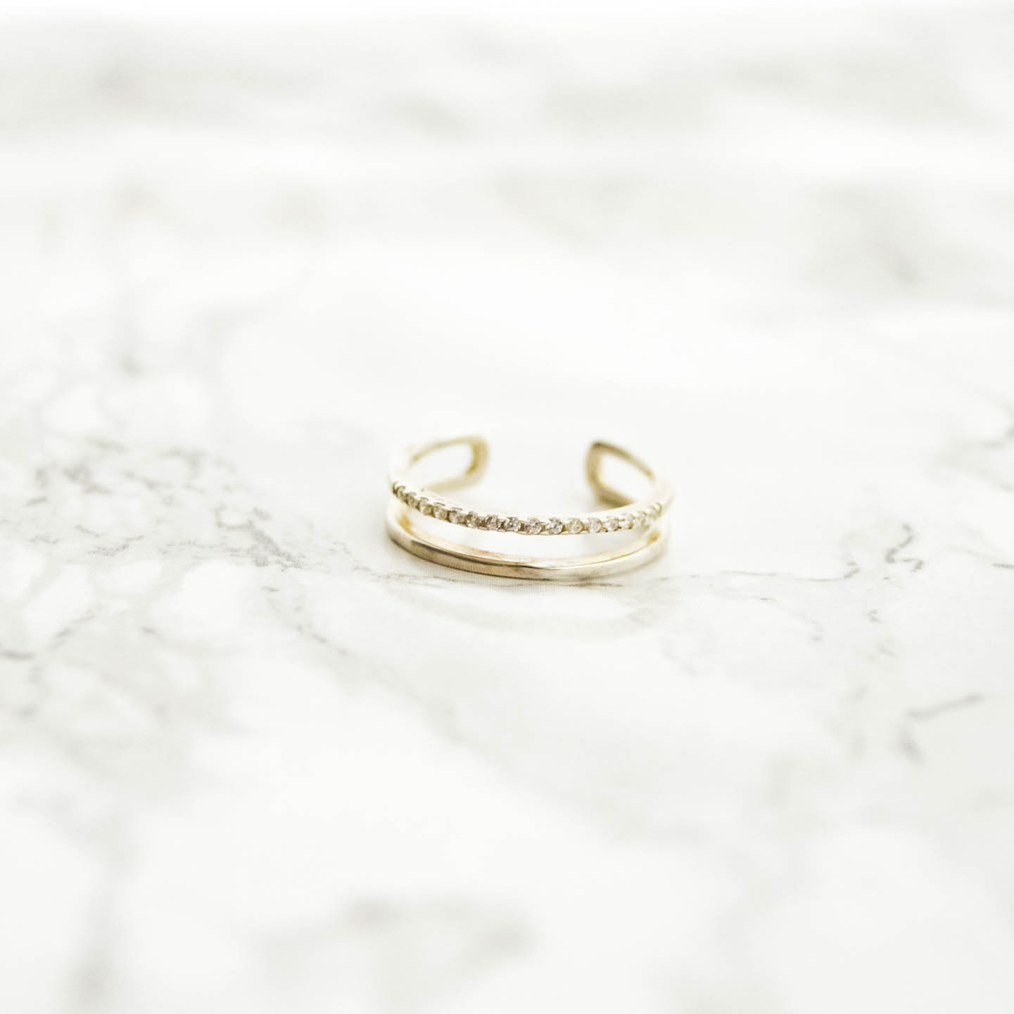 Silver925 Double Line Zirconia Ring