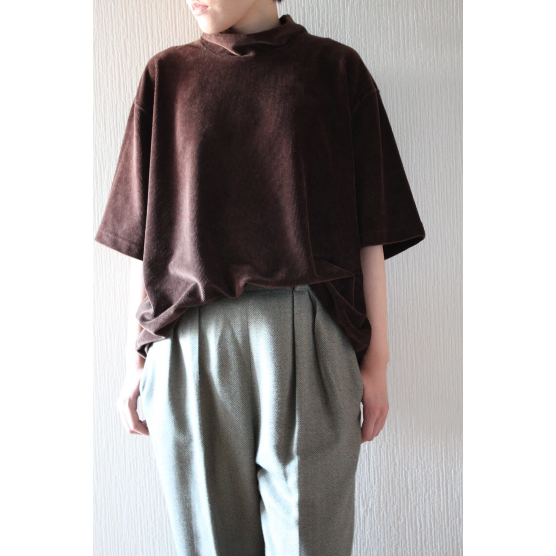 Vintage hi neck corduroy shirt