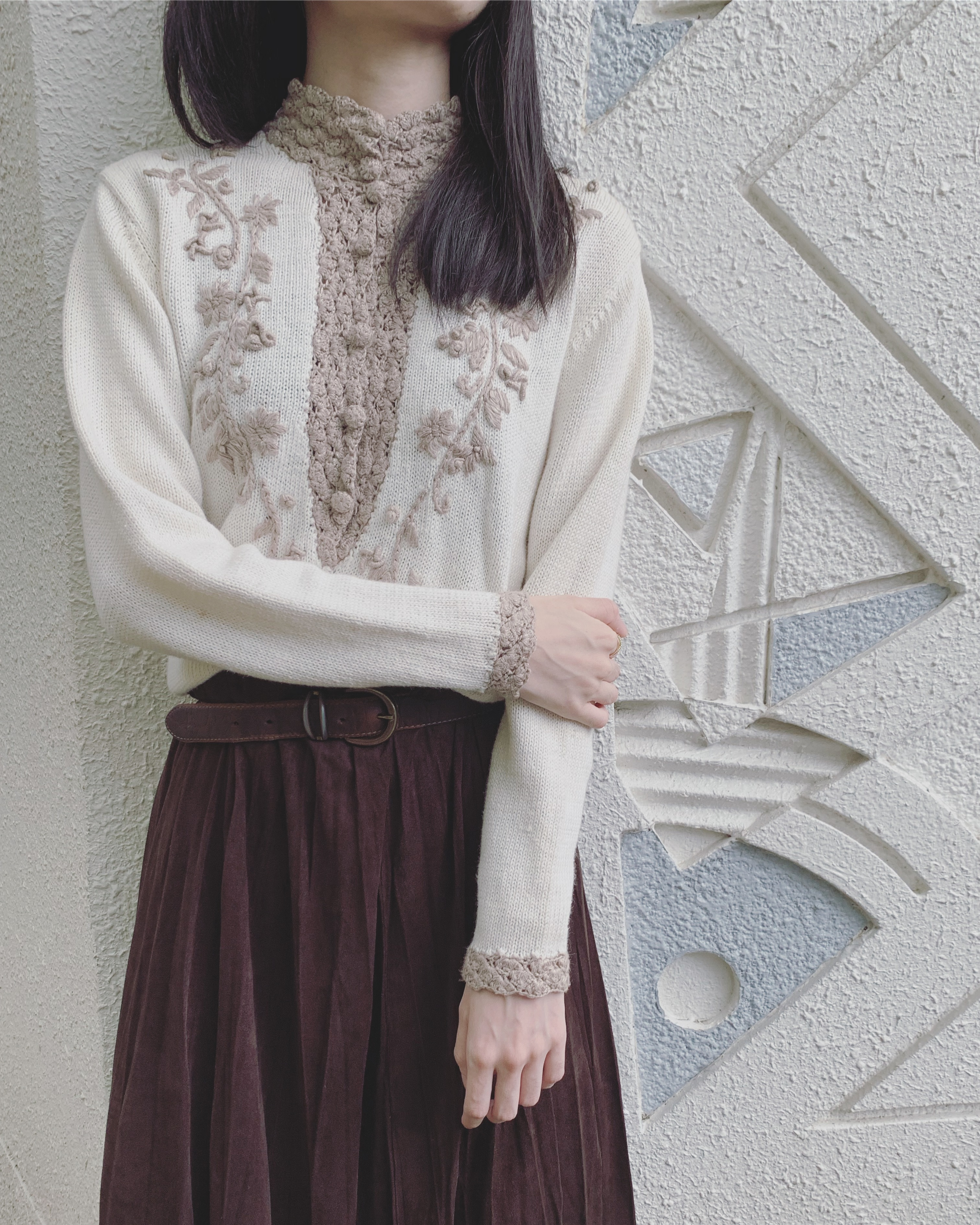 vintage flower design knit tops