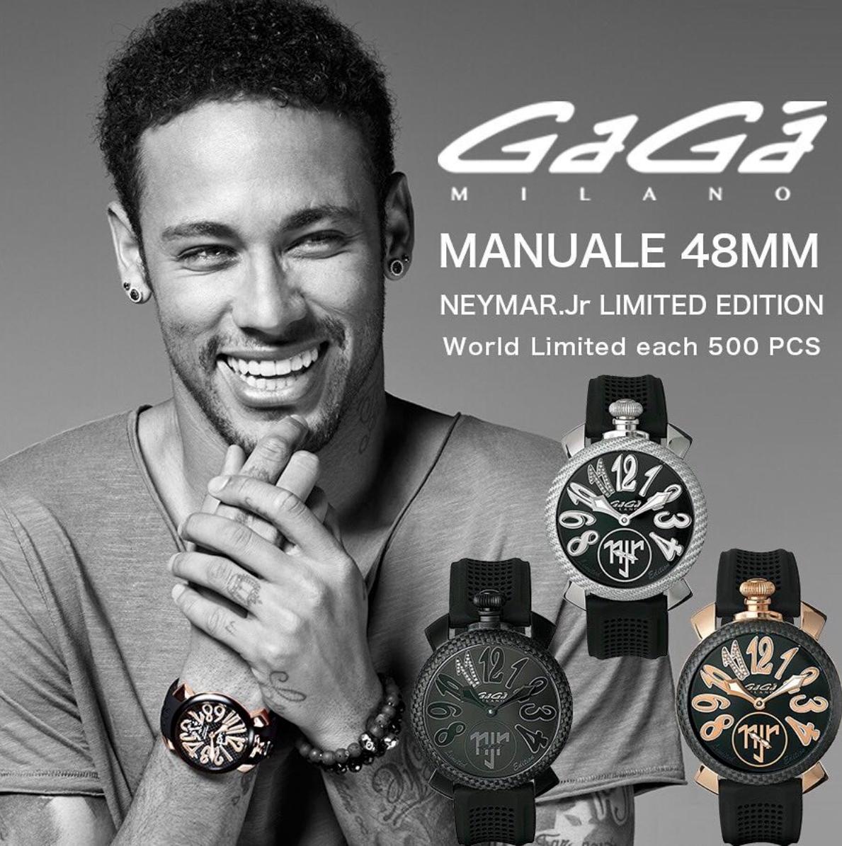 【GaGa MILANO】5516.NJ.01D/Manuale 48 限定ネイマールモデル(ブラック)/正規輸入品