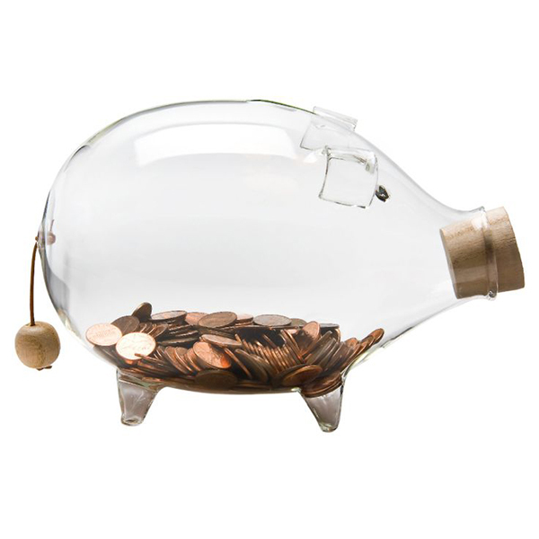 Glass Piggy Bank ガラス貯金箱 Large