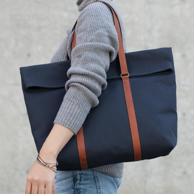 【受注製作】革と帆布のトートバッグ インディゴ