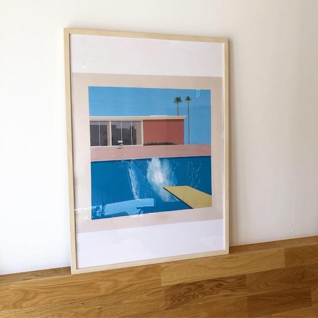 "David Hockney ""A Bigger Splash"" 1967 Poster 50×70cm フレーム付"