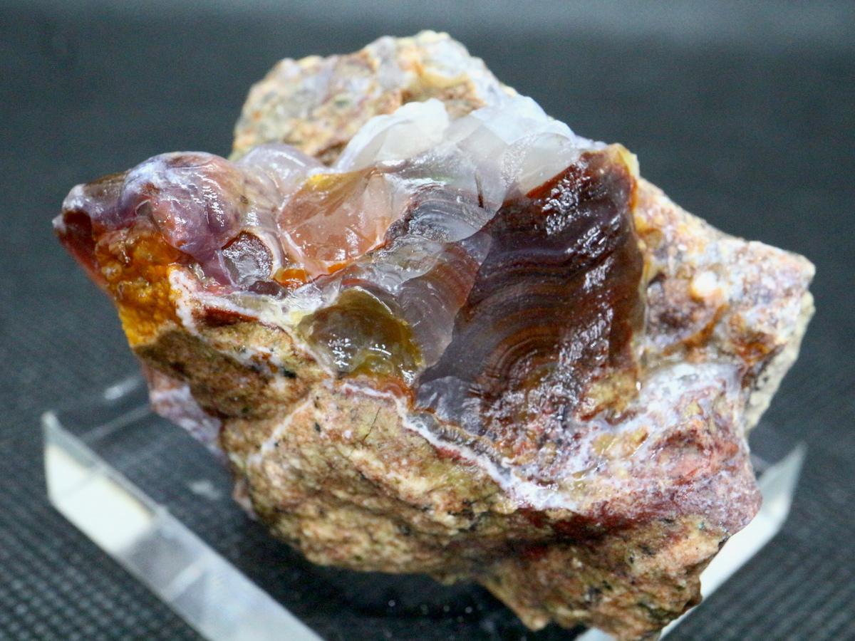 アリゾナ州産 ファイヤー アゲート カルセドニー 109g FA031 鉱物 原石 天然石 パワーストーン