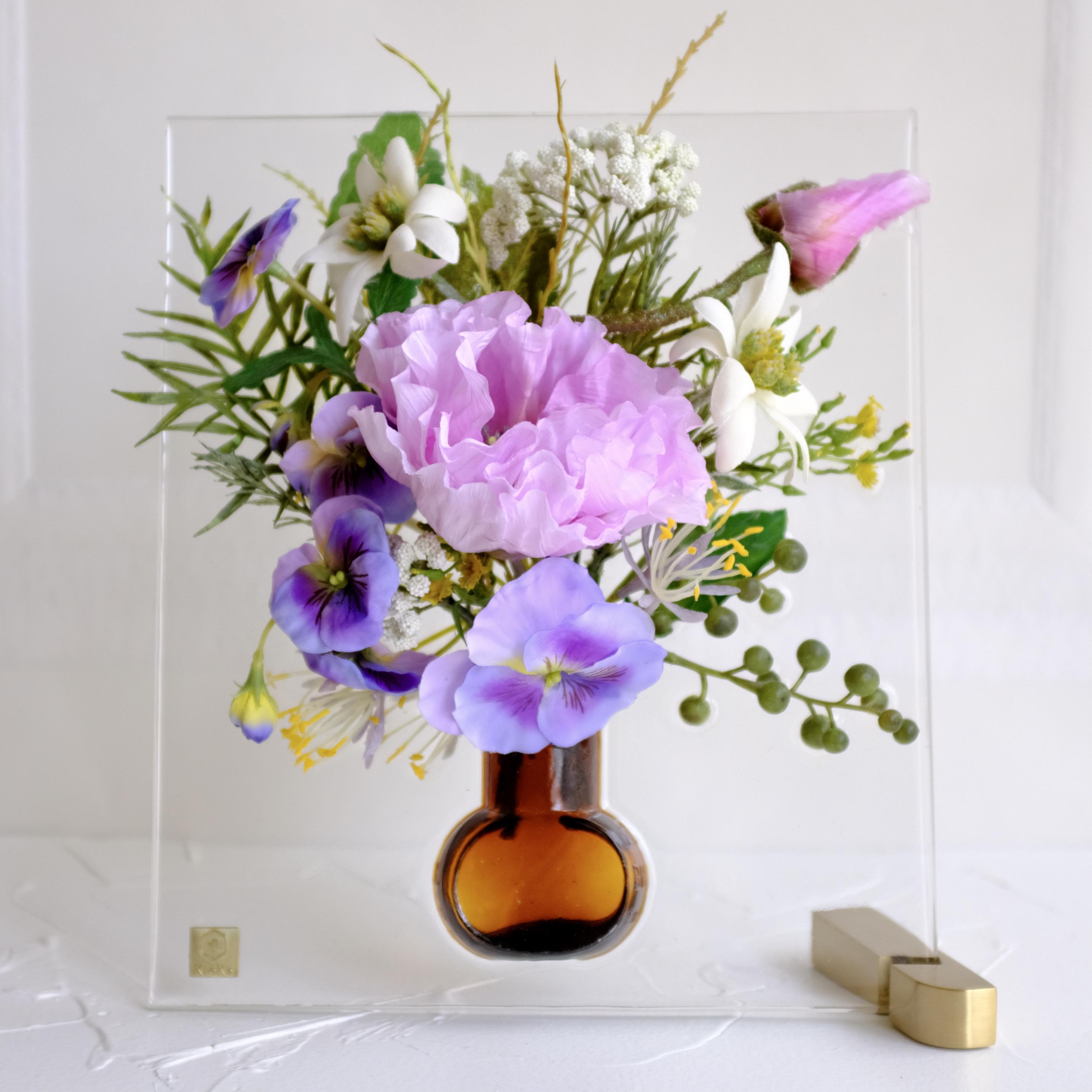 sumika M ポピーとフランネルフラワー ピンク アンティーク花瓶シリーズ