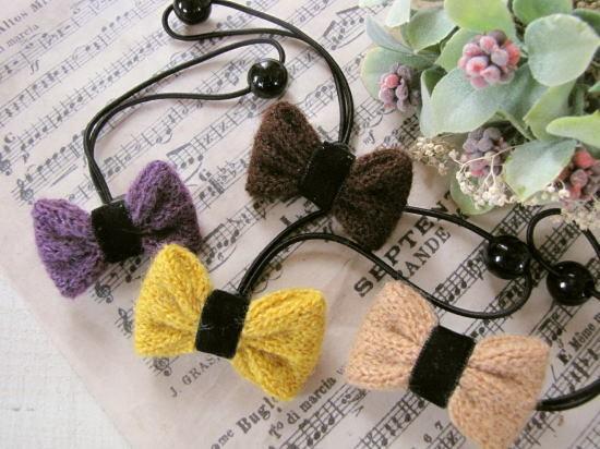 秋冬素材*毛糸のリボンヘアゴム/セレクト雑貨