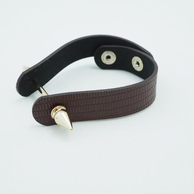 BR spikebar&real leather bracelet