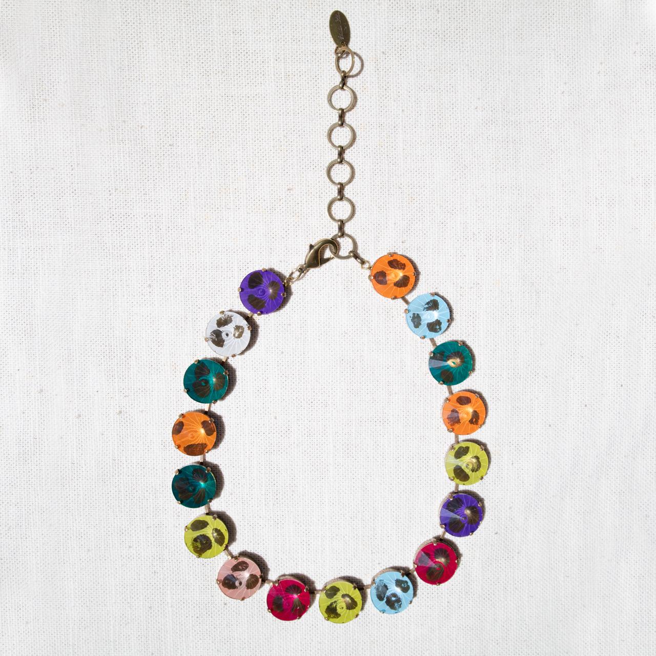 No.004231 ネックレス<レインボー>ガラス、真鍮【Clotilde Silva】