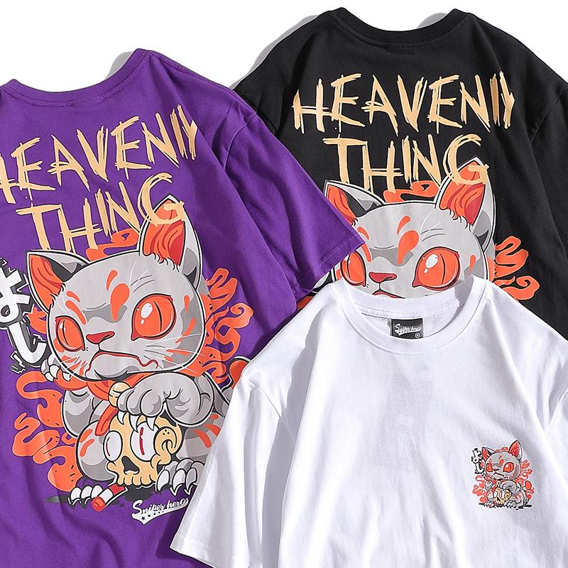 ユニセックス Tシャツ 半袖 メンズ レディース 招き猫 プリント オーバーサイズ 大きいサイズ ルーズ ストリート