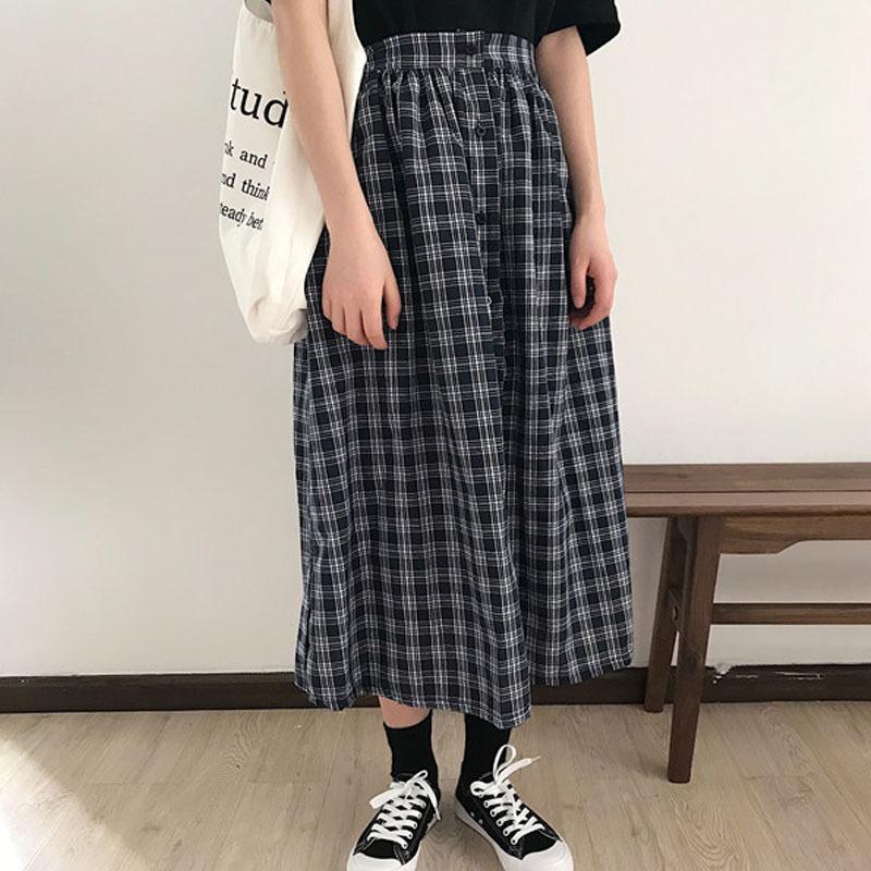 【送料無料】 最旬スカート♡ フロントボタン チェック柄 ロングスカート Aライン ミモレ丈
