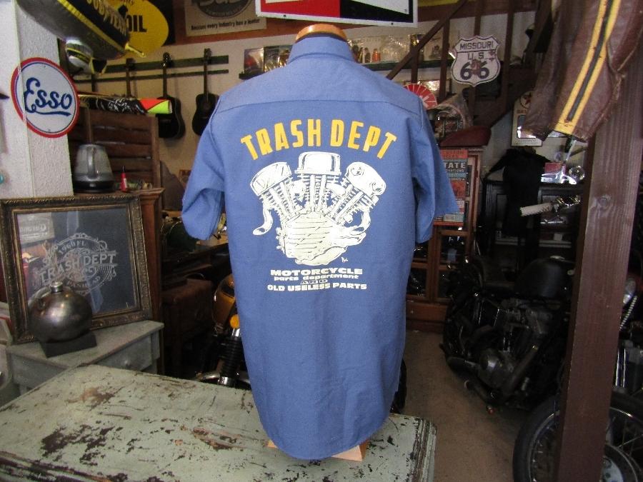 TRASH DEPT オリジナルワークシャツ / E/G 半袖  ブルー