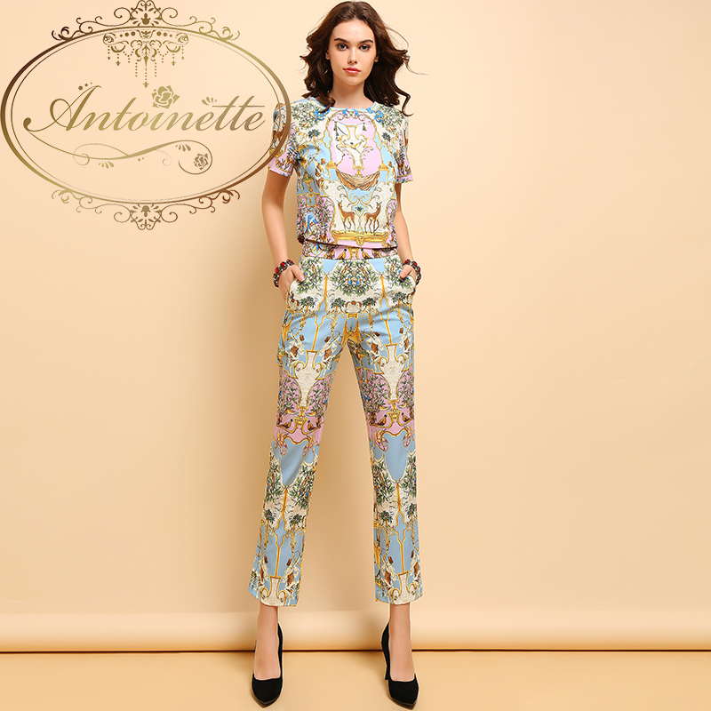 Summer Fashion Suits Women's Casual Short Sleeve T-shirt and Elegant Animal Printe Long Pants Two Pieces Set