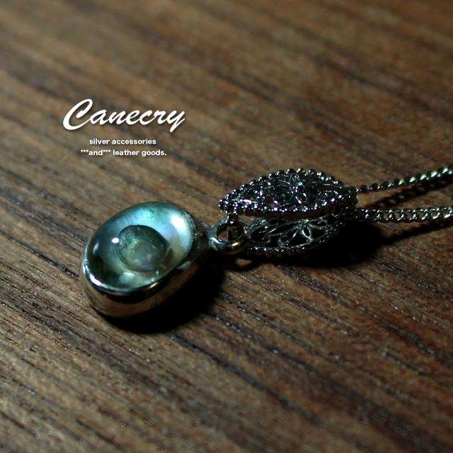 プラシオライトと白蝶貝のネックレス