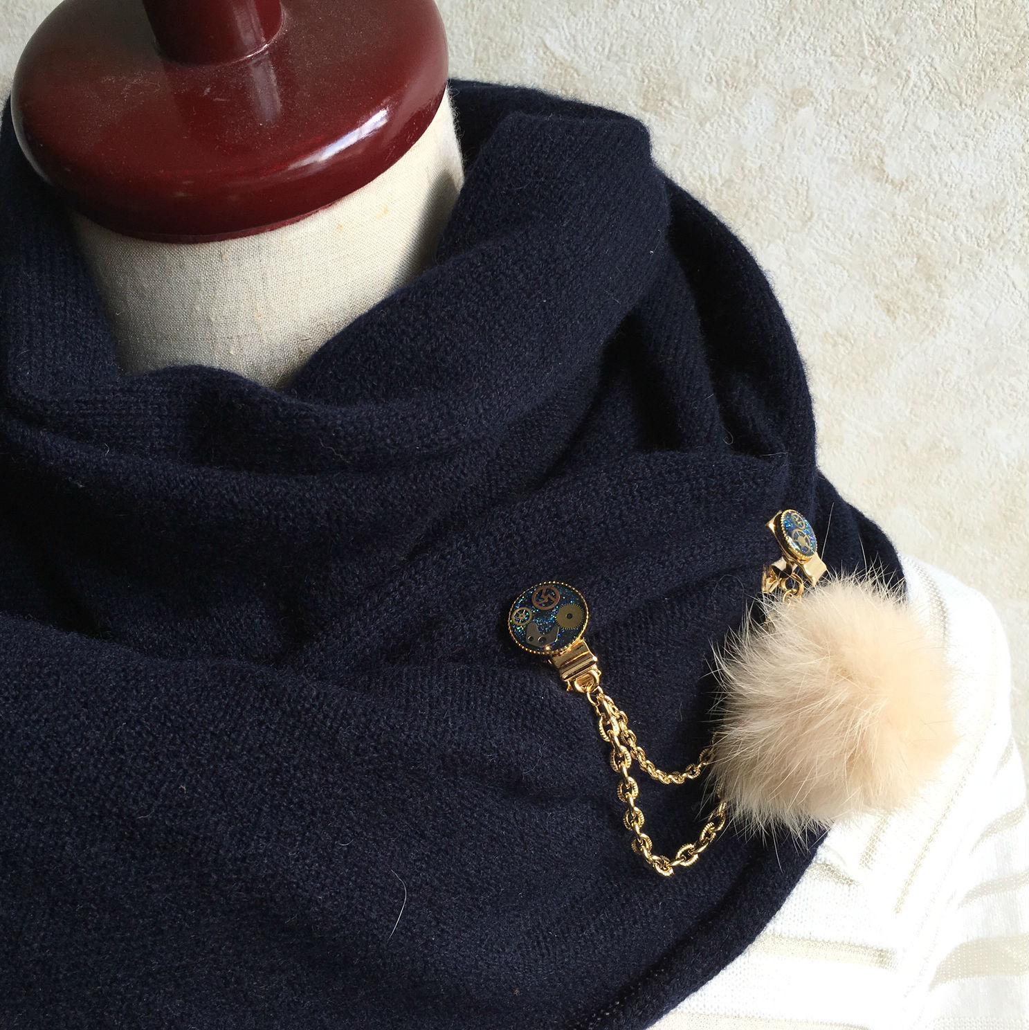 【帽子やストール留めに】クリップチェーン(ゴールド金具・ファー付)