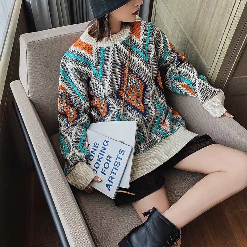 retro diamond pattern knit