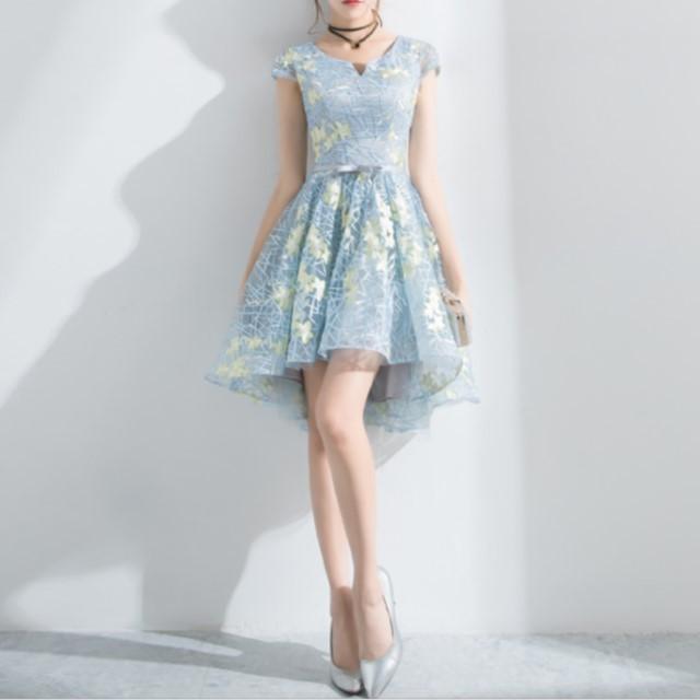今季売れ筋☆ シースルー ボタニカル 刺繍ドレス 結婚式 パーティー フィッシュテール お呼ばれ きれいめ