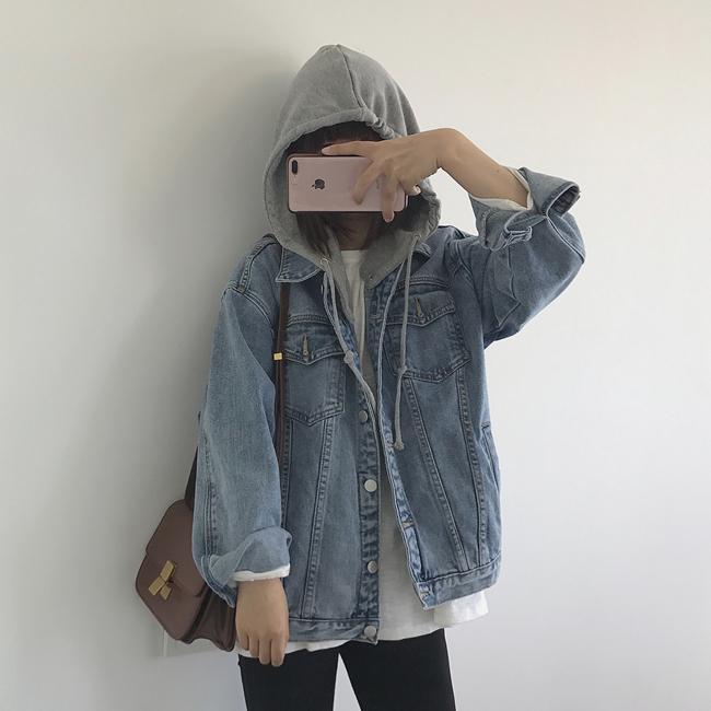 【送料無料】2way仕様♡ デニムジャケット Gジャン フード付き アウター