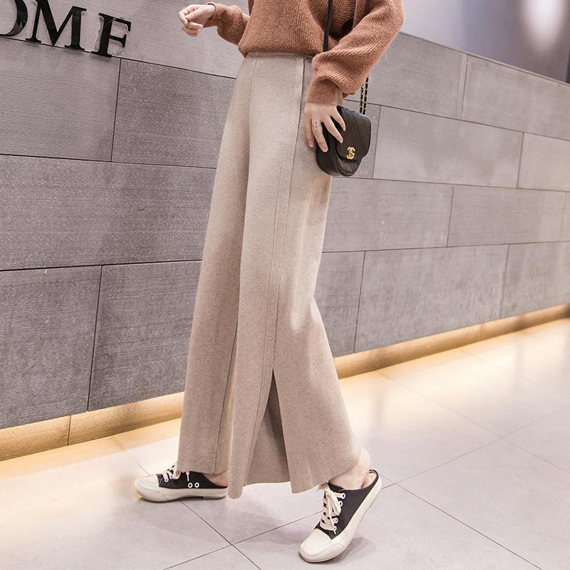 「ボトムス」秋冬ファッションスリットゆったりカジュアル5色ニットガウチョパンツ