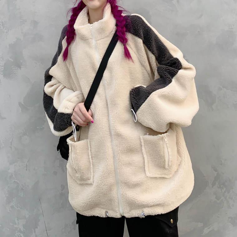 【送料無料】 オーバーサイズ♡ バイカラー モノトーン ボア ジップ パーカー カジュアル ジャケット