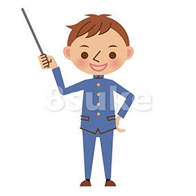 イラスト素材:指し棒を持って解説する学生服姿の男子中学生・高校生(ベクター・JPG)