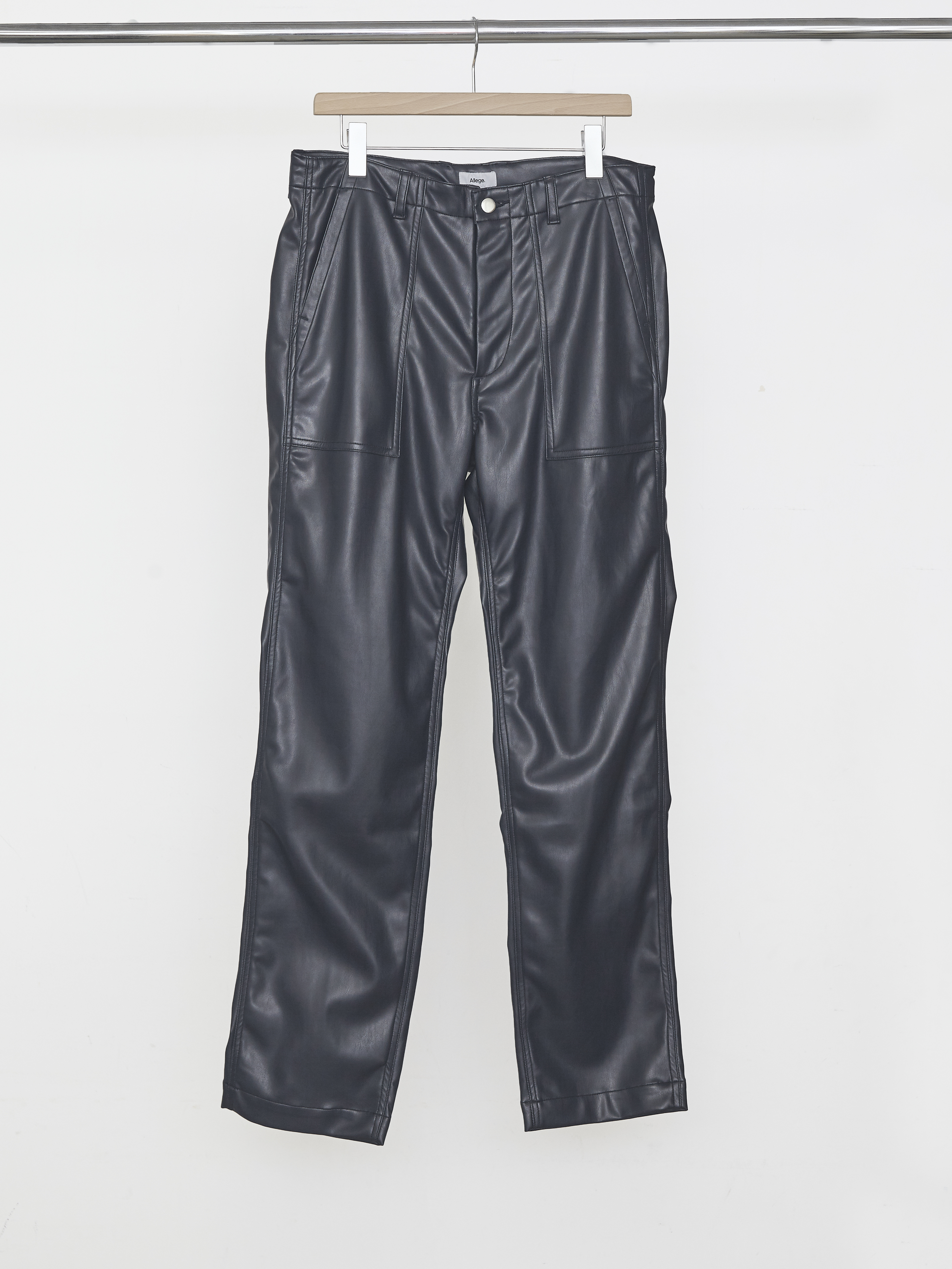 Synthetic Leather Baker Pants - Navy