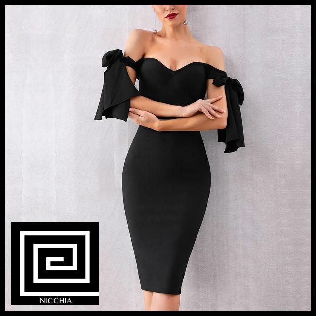 ブラックオフショルダーアームリボンドレス