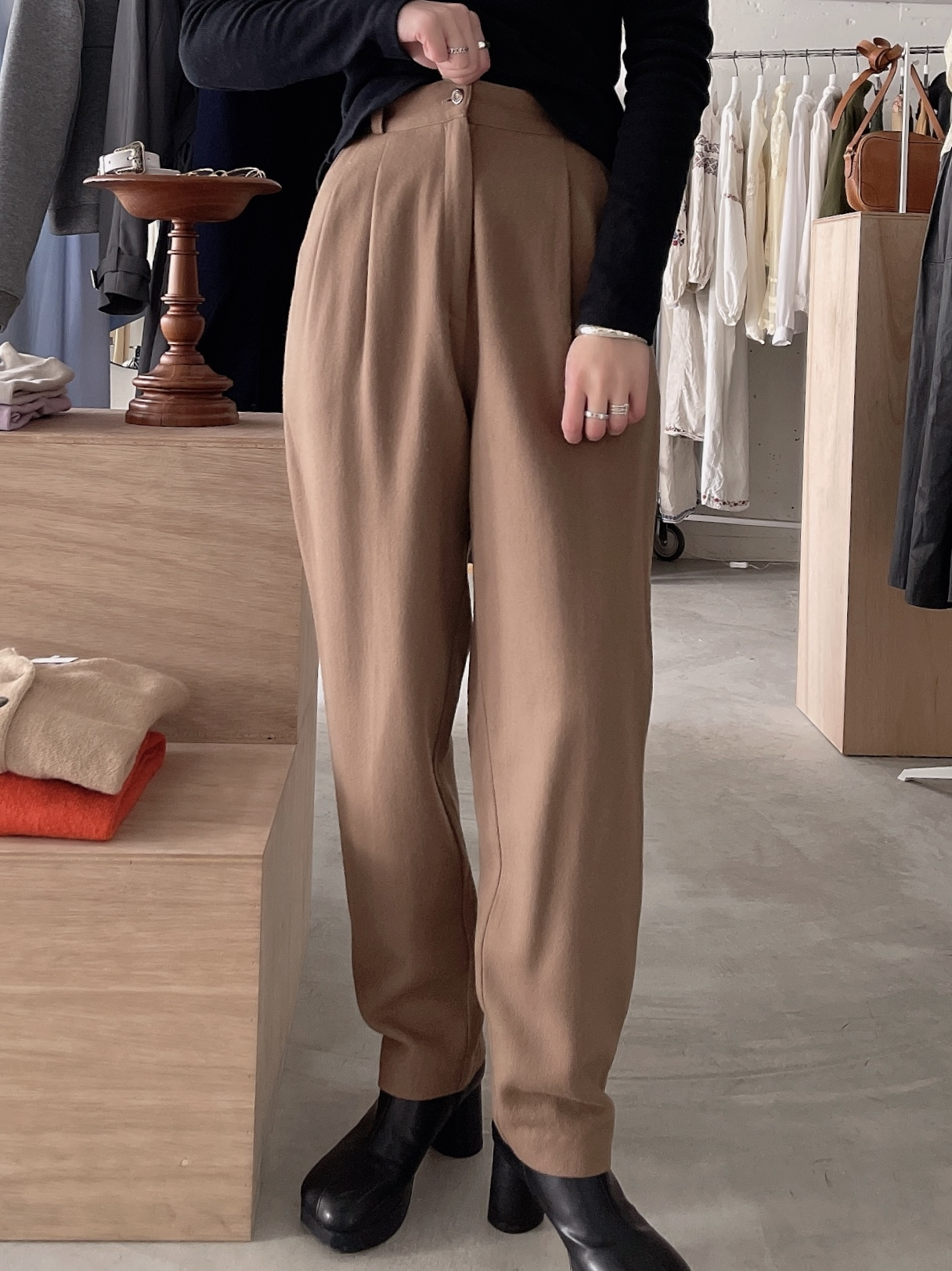 vintage wool slacks - milk chocolate brown -