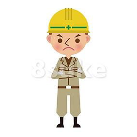 イラスト素材:怒った表情の土木作業員(ベクター・JPG)