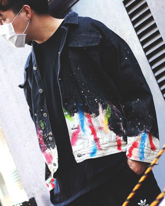 splash paint denim jacket