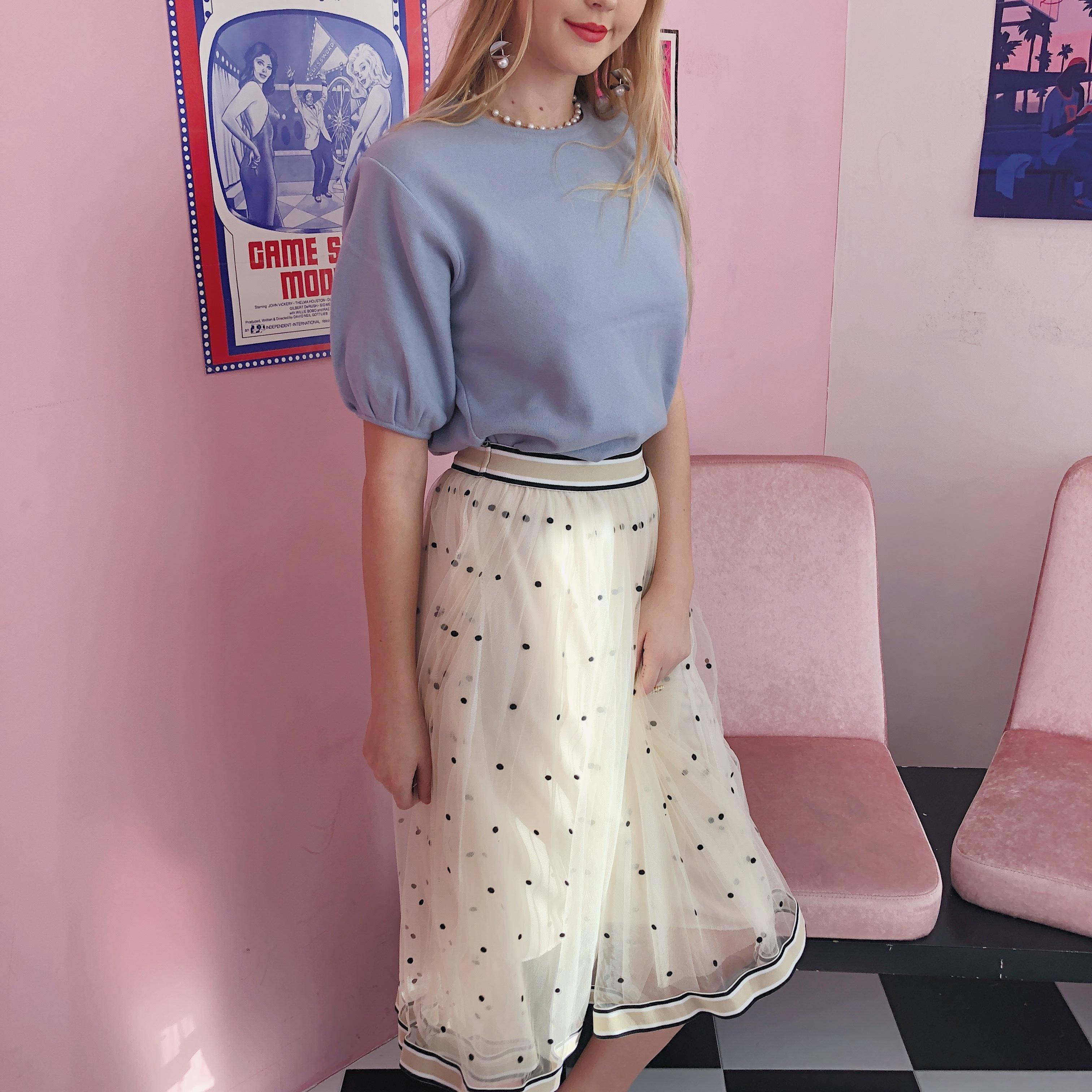dot seethrough skirt