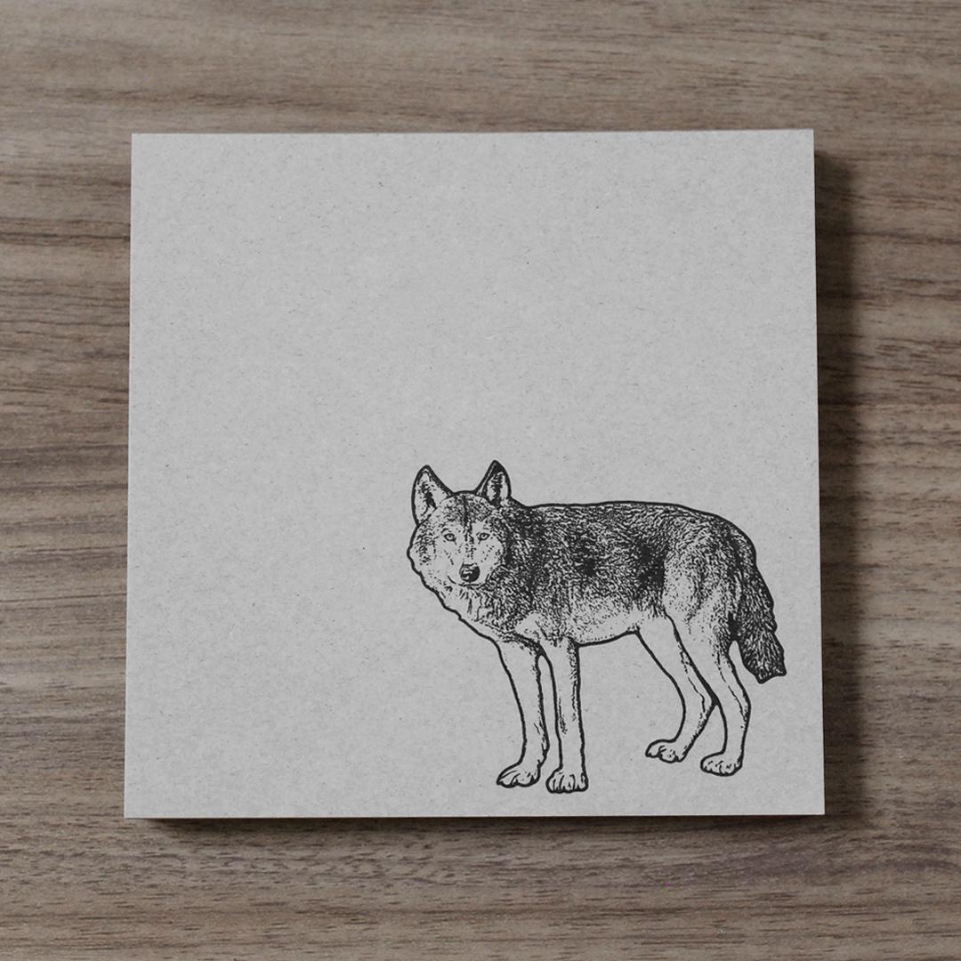 再生紙スクエアメモ(オオカミ)