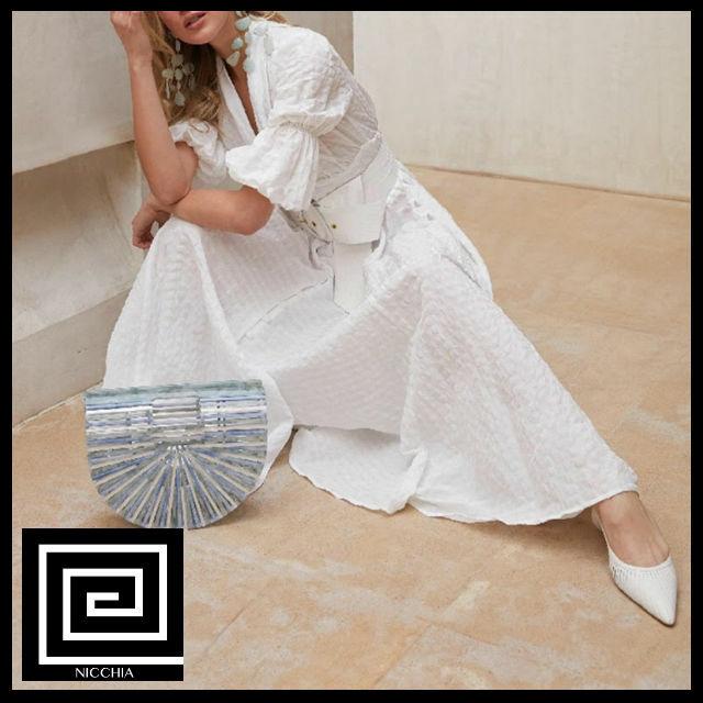 カジュアルホワイトパフスリーブボタンロングドレス