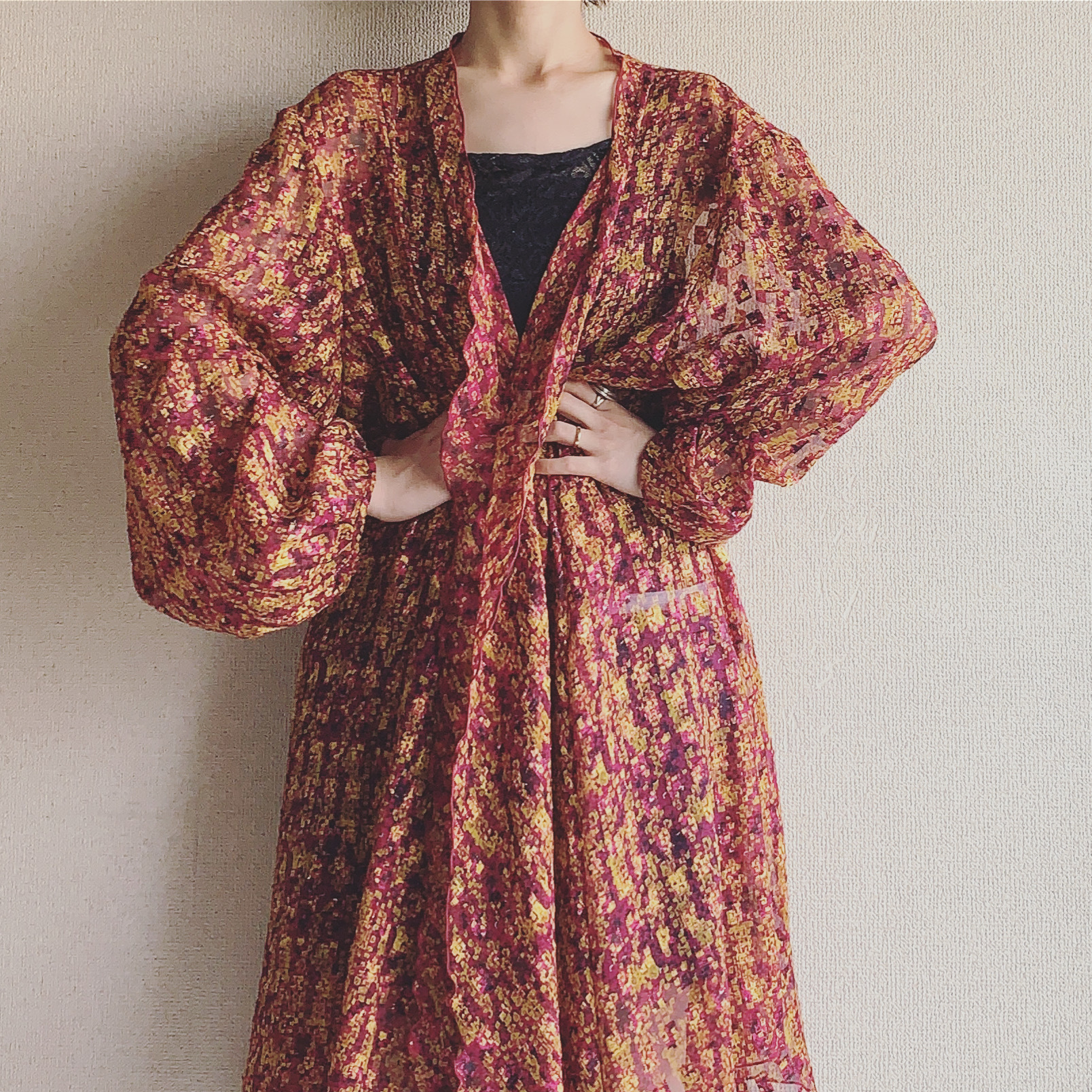 vintage oversized see-through haori