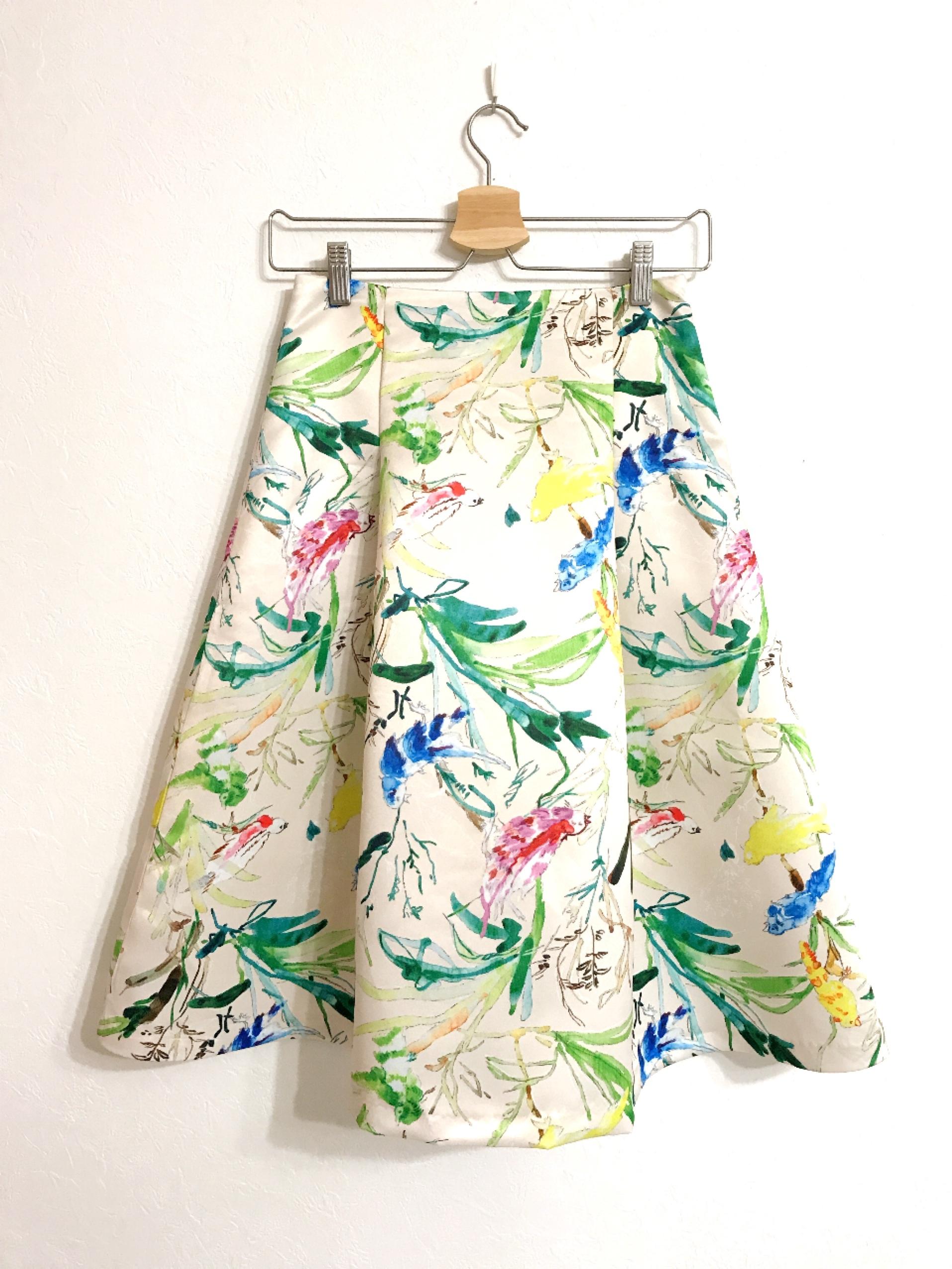 小鳥と葉っぱのサテンスカート クリーム