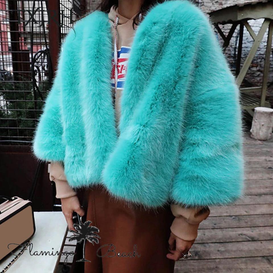 【FlamingoBeach】Blue fake fur coat