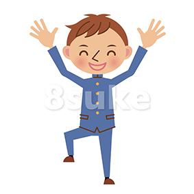 イラスト素材:バンザイをする学生服姿の男子中学生・高校生(ベクター・JPG)