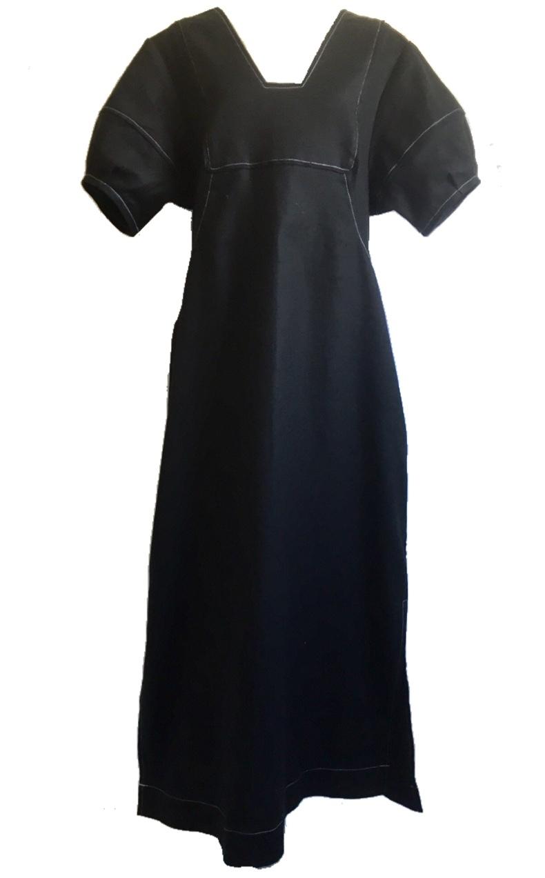 Puff sleeve long dress ( black )