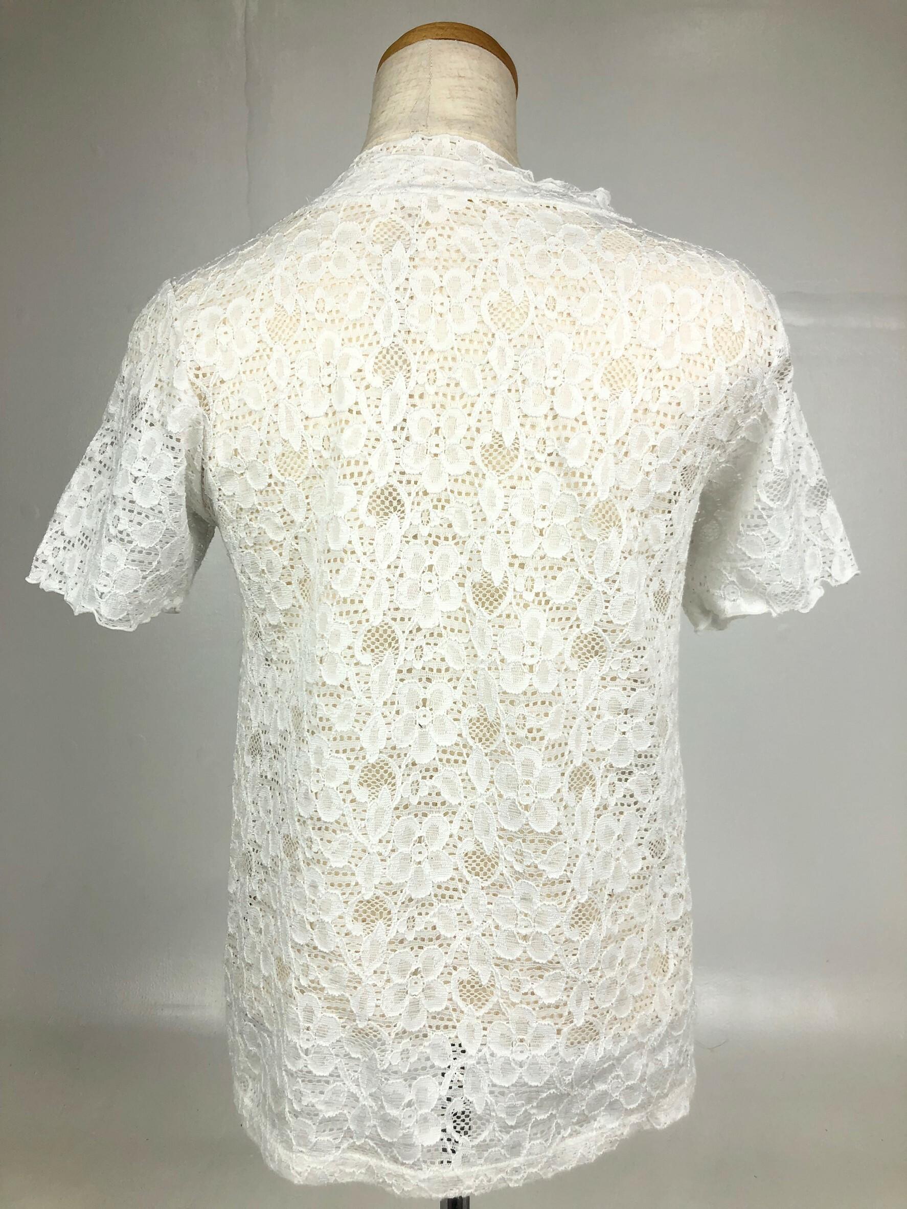 【古着】花柄シースルーレースシャツ