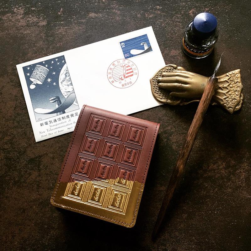 訳あり:革のチョコ メモ帳カバー スイート(金の包み紙)