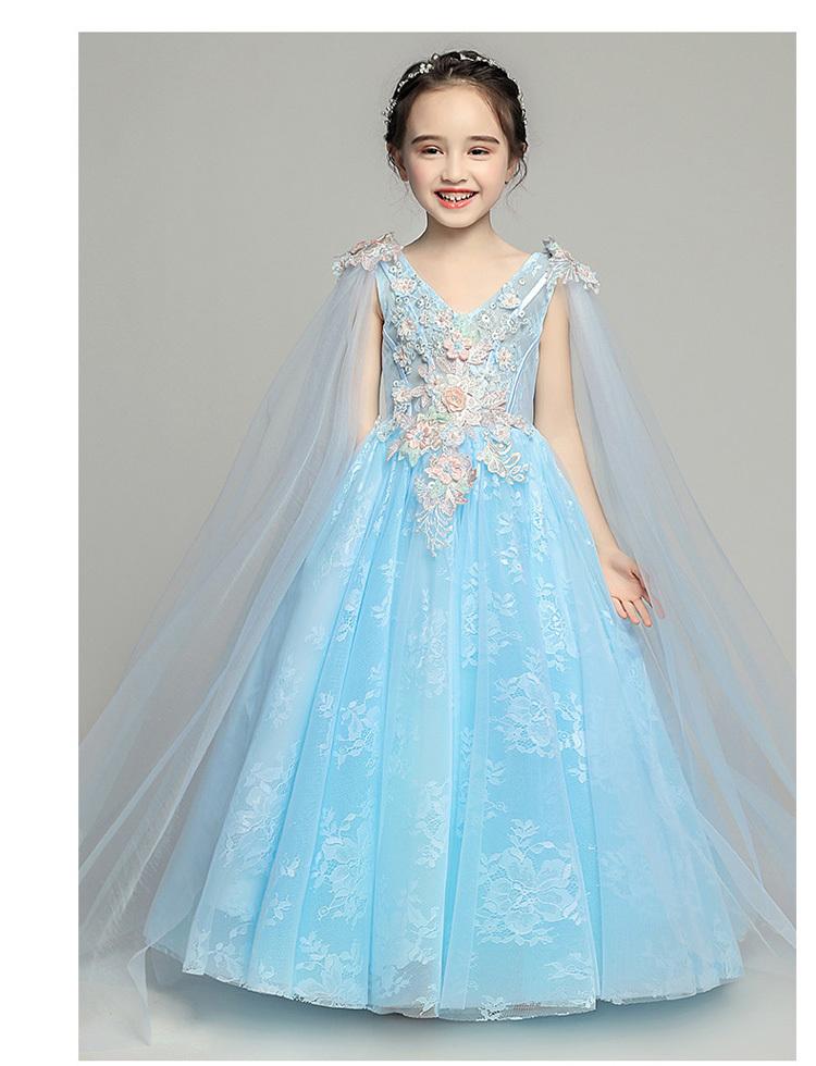 51ee65c2e8c43 Vネック レース 刺繍 子どもドレス キッズドレス ジュニア ピアノ発表会 結婚式 入園式 卒業式 子供服 女の子 ロングドレス ワンピース 花柄  ブルー 青い